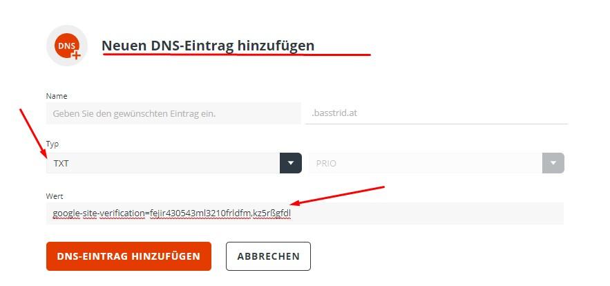 Google Search Console Webseite einreichen mit DNS